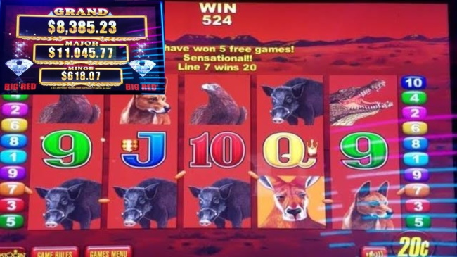 Bonus Rounds and other features in Big Red Pokie