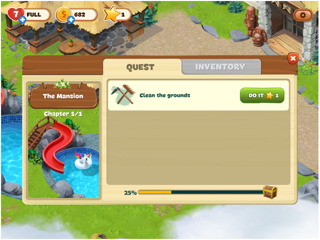 Complete the quest in Lost Island blast adventure and earn stars and coins